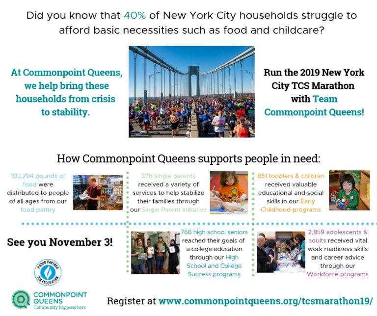 Run the TCS NYC Marathon with Commonpoint Queens!