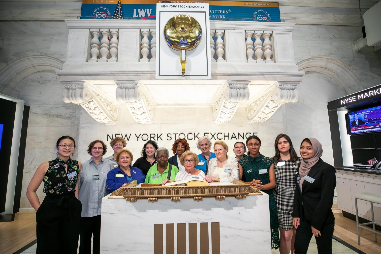 The New York Stock Exchange welcomes The League of Women Voters of the City of New York in celebration of its 100th anniversary. Gladys Krasner, Past President, joined by Chris Taylor, Vice President, NYSE Listings and Services, rings the NYSE Closing Bell®.