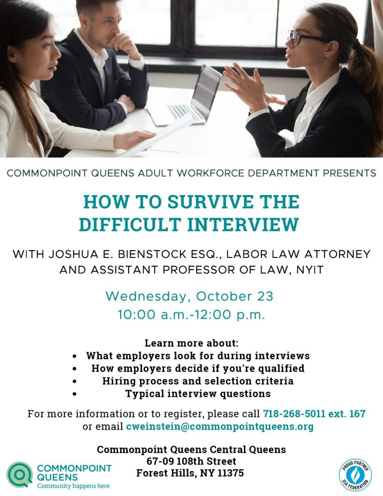 how to survive the difficult interview workshop flyer