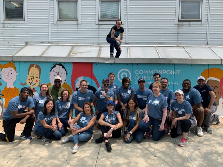 CBS Sports mural volunteer day Central Queens