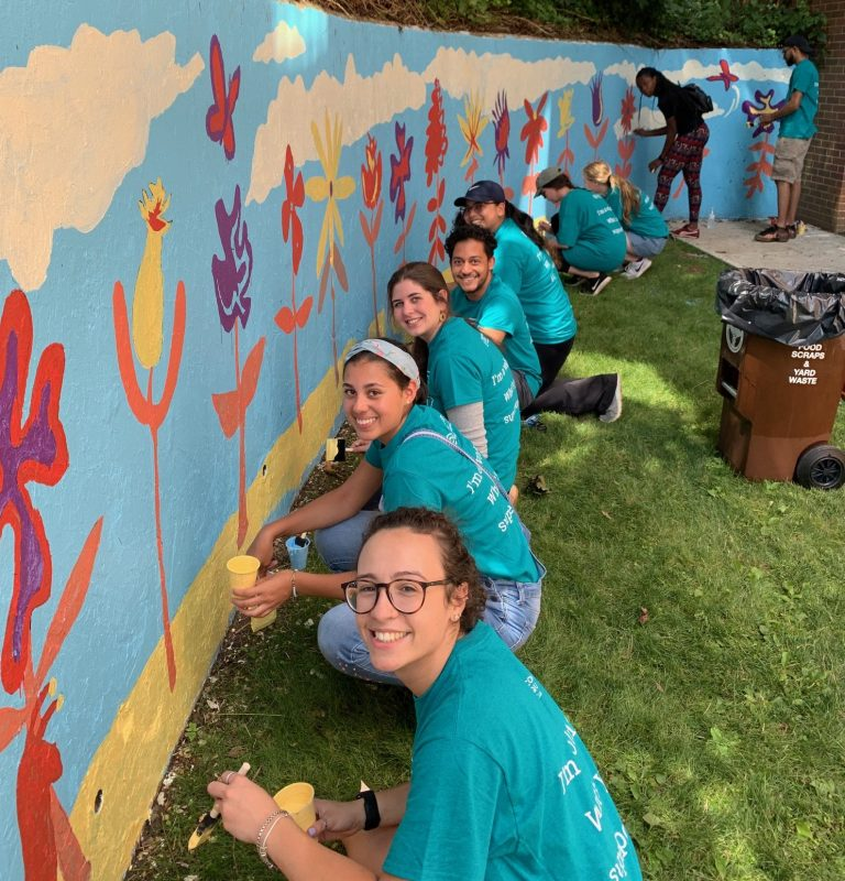 skanska volunteer mural painting sam field