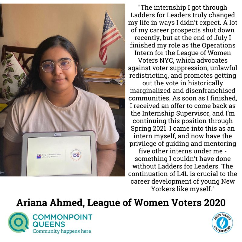 ariana ahmed ladders for leaders testimonials league of women voters