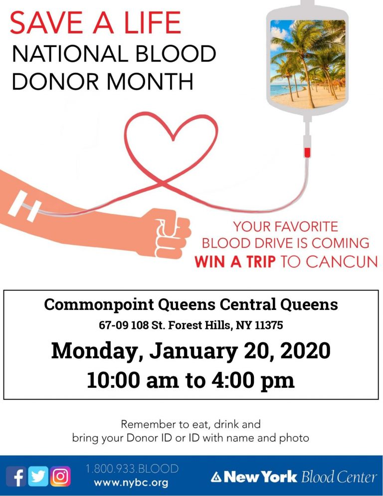 MLK blood drive central queens 2020 NBDM NYBC Cancun