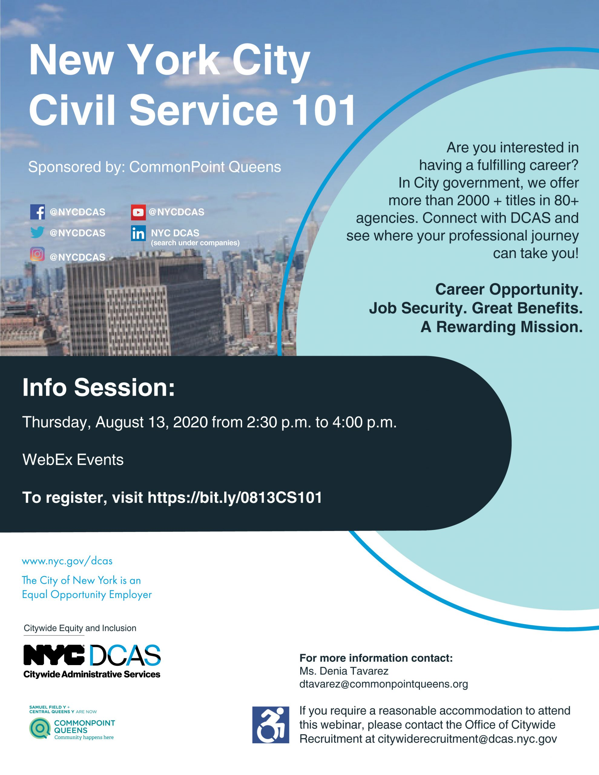 Commonpoint Queens Workforce Department to Host New York City Civil Service 101 Information Session