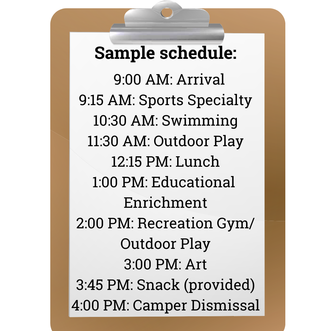 Sample schedule summer of arts and sports