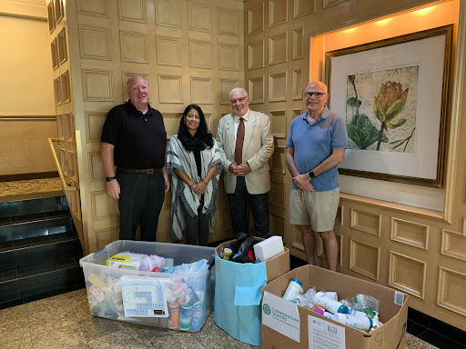 Hygiene and cleaning supplies donated by the Towers at Water's Edge